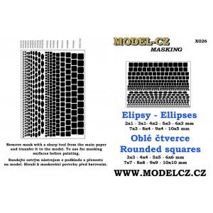Masky - elipsy, čtverce
